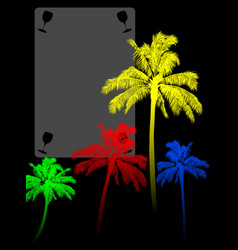 Coloured palm trees silohuette and copy space vector