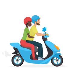 Couple in love together on scooter young happy vector