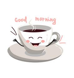 cute cartoon cup of coffee vector image