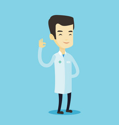 doctor showing ok sign vector image