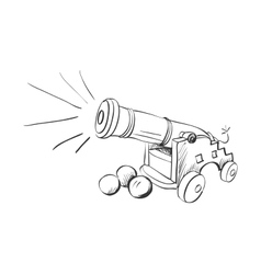 doodle cannon vector image