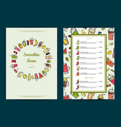 doodle smoothie cafe menu template vector image