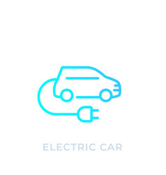 Electric car with plug ev linear icon vector