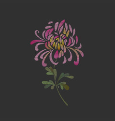 Embroidered chrysanthemum flower design vector