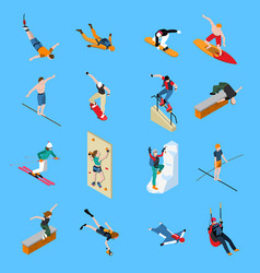 Extreme sports people isometric set vector