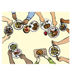 Family or friends dinner hand drawn vector
