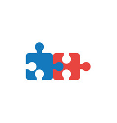 flat design style concept of two puzzle pieces vector image