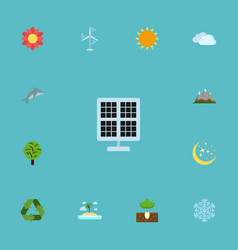 Flat icons electric mill sunshine night and vector