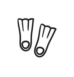 Flippers sketch icon vector