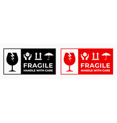 Fragile package icons set handle with care vector