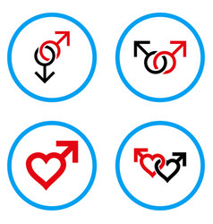 Gay love symbols rounded icons vector