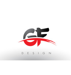 Gf g f brush logo letters with red and black vector