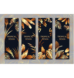 Golden tropical leaves vertical banner set vector