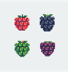 grapes pixel art icons set vector image