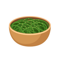 green noodles in brown ceramic bowl traditional vector image