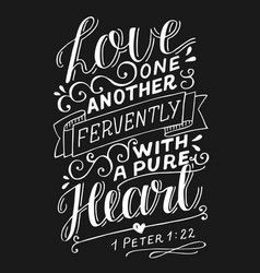 Hand lettering with bible verse love one another vector