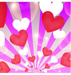 happy valentine day sunburst hearts flying banner vector image