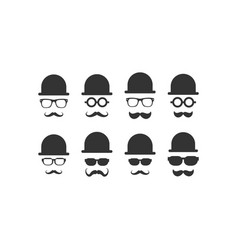 hat and glasses icon graphic design template vector image