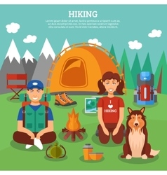 Hiking flat concept vector