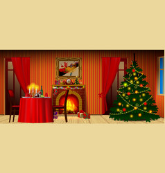 holiday interior with fireplace gifts and vector image