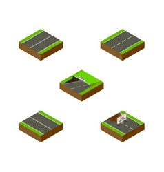 isometric road set of cracks repairs flat and vector image