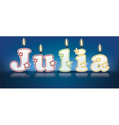 JULIA written with burning candles vector