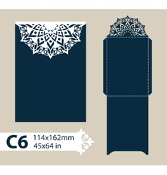 Layout envelope with carved openwork pattern vector image