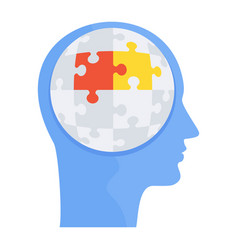 Logical thinking human head with puzzles inside vector