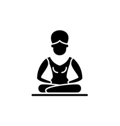 lotus pose meditation black icon sign on vector image