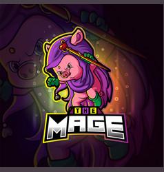 Mage pig esport mascot design vector
