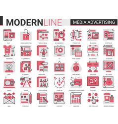 media advertising complex flat line icon vector image