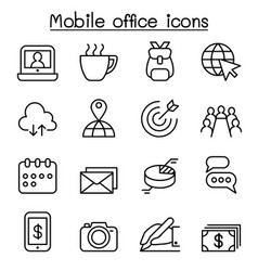 mobile office icon set in thin line style vector image