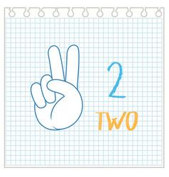 Number two hand gesture on paper template vector