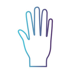 Open palm hand gesture on gradient color vector