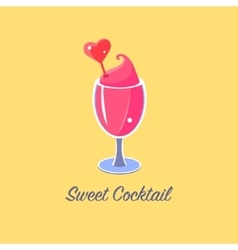Pink Cocktail In Wine Glass vector