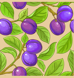 Plum branches pattern on color background vector