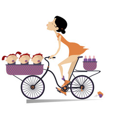 Pretty young woman a bike and babies isolated vector