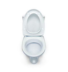 Realistic white home ceramic toilet bowl vector