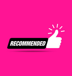recommend icon thumb up recommended sale label vector image