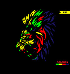 Red eye lion colorful version vector