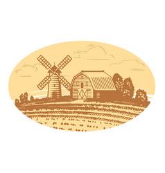 rural landscape sketch farm agriculture food vector image
