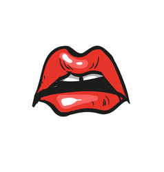 Sad open mouth sorrowful red lips with teeth on vector