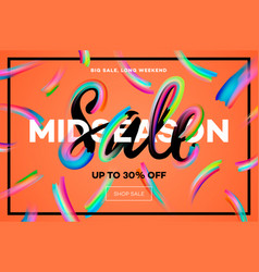sale banner template midseason sale orange vector image