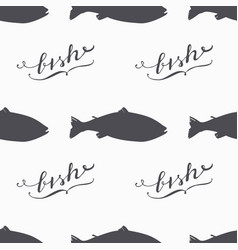 salmon fish silhouette hand drawn seamless pattern vector image