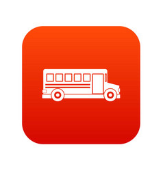 School bus icon digital red vector