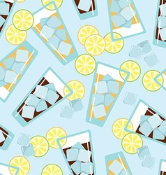 Seamless pattern with glasses of lemonade vector