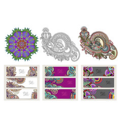 set of decorative flower template banner in indian vector image