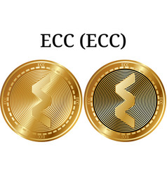 Set of physical golden coin ecc ecc vector