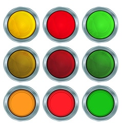 Set of round buttons of red orange and green vector