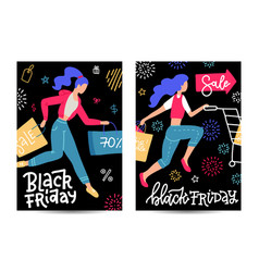 set vertical a4 banners for black friday sale vector image